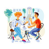 Couple in street cafe flat vector illustration