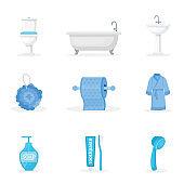 Bathroom accessories flat illustrations set