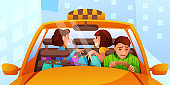 Annoying female taxi passengers flat illustration isolated on white background