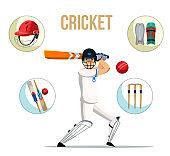 Live cricket flat banner vector template