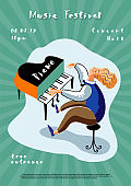 Music festival leaflet template. Grand piano player cartoon character