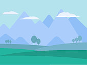 Mountains landscape flat vector illustration