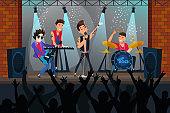 Pop rock concert flat vector illustration