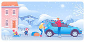 Family on winter trip flat vector illustration
