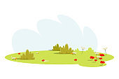 Empty meadow, lawn flat vector illustration