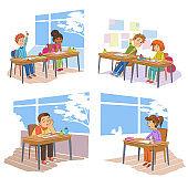 Schoolmates in school vector illustrations set