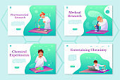 Chemistry theme landing pages set. Scientific lab workers flat illustrations set