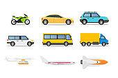 Transport types flat vector illustrations set