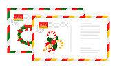 Letters envelops with christmas design cartoon set
