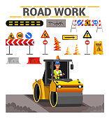 Road work flat vector illustration