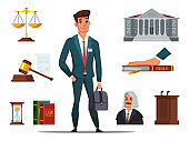 Man lawyer in suit and referee accessories set
