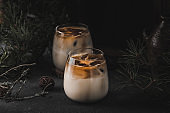 Iced coffee cocktail with milk