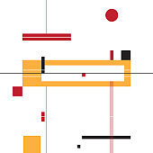 Abstract shapes composition - yellow, red and black