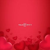 Happy saint valentine's day, 3d red hearts blur efect design, Celebration card, vector illustration