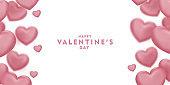 Happy saint valentine's day, 3d pink hearts blur efect design, Celebration card, vector illustration