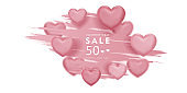 valentines day sale, 14th February, love day, 3d pink hearts brush design romantic love day Celebration card vector illustration