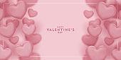 pink hearts blur effect design for saint valentine's day, Celebration card, vector illustration