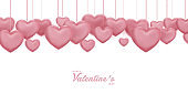 valentines day, 14th February, love day, 3d pink hearts blur efect design romantic love day Celebration card vector illustration