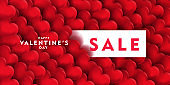 Valentine's day sale offer, banner template. 3d red heart, Valentines Heart sale tags. Shop market poster design.