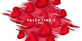 valentines day, 14th February, love day, 3d red hearts brush design romantic love day Celebration card vector illustration