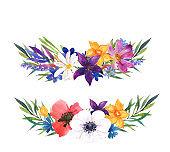 Flower composition. Watercolor illustration.