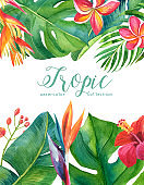Tropical watercolor illustration with leaves and flowers. Geometric frame for invitation, wedding, birthday, baby shower, Save the Date and other.