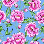 Seamless pattern with hand drawn pink flowers