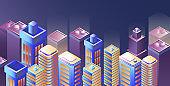 Night city panorama. Modern city night isometry vector illustration
