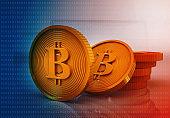 Bitcoin on digital background