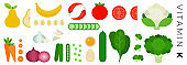Vitamin K foods vector flat icons set with cauliflower and cucumber .