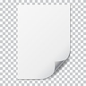 Realistic illustration of a sheet of A4 paper with folded corner and space for your text. Isolated on transparent background - vector