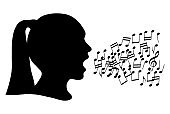 Black silhouette head girl and note