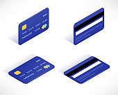 Credit card isometric icons set