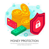 Money protection isometric concept flat text