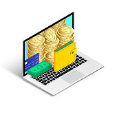 Online money concept isometric laptop isolated