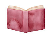 Watercolour illustration of opened book with red maroon distressed cover. Sign of wisdom and literature. Handdrawn water color sketchy drawing, cut out clip art element for creative design decoration.