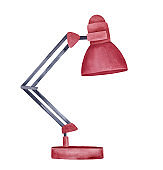 Watercolour illustration of dark red basic desk lamp. One single object, side view. Handdrawn water color graphic painting on white background, cutout clip art element for creative design decoration.
