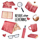 """""""Never Stop Learning"""" greeting card design with little positive pet mouse wearing eye glasses and various fun education elements. Square shape. Hand drawn watercolour graphic illustration on white."""