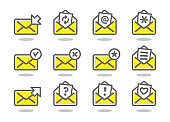 Set of flat email icons yellow series.