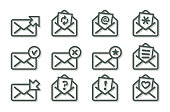 Set of flat email icons, gray series.