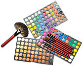 Professional makeup brushes and eyeshadow palette