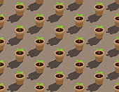 Gardening plant seedling or sprout in pot 3D isometric seamless pattern, Conservation environment concept poster and banner design illustration isolated on beige background with copy space, vector eps