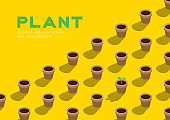 Gardening plant seedling or sprout in pot 3D isometric pattern, Conservation environment concept poster and banner horizontal design illustration isolated on yellow background with copy space, vector