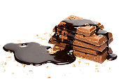 Pieces of milk chocolate and syrup