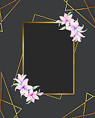Gold square frame, golden border, framework, banner, metal glowing thin lines. Geometric shape forms. Horizontal frame for wedding and invite card, pink flowers and black background
