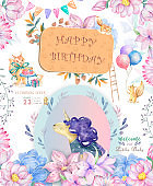 Watercolor isolated cute watercolor unicorn clipart. Nursery unicorns illustration. Princess unicorns poster. Trendy pink cartoon horse. Birthday, celebration invite card. Funny zoo