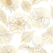 Beautiful seamless pattern with flowers . Vector illustration.