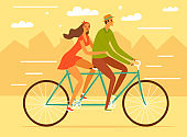 Happy cartoon pair in love riding a bicycle in the city.