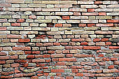 old red bricks on the ancient wall without people