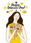 Happy Women's Day illustration with beautiful girl